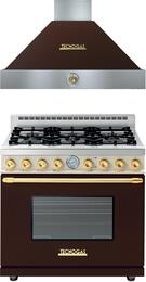 "Deco 2-Piece Brown with Gold Accent Kitchen Package with RD361GCMCG 36"" Freestanding Gas Range and HD361ACMG 36"" Wall Mount Rane Hood"