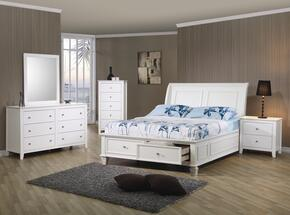 400239FSET5 Sandy Beach 5 Pc Full Bedroom Set in White Finish (Bed, Nightstand, Dresser, Mirror, and Chest)