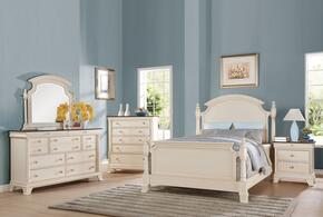 Tahira 24414CK5PC Bedroom Set with California King Size Bed + Dresser + Mirror + Chest + Nightstand in Ivory Color