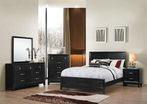 1002-6652/68SK Metropolitan Bedroom Set King Bed, Dresser, Mirror, Chest and Nightstand with Apron, Molding Detail and Tapered Legs in Black