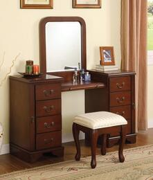 06565VSM Louis Philippe Vanity and Stool + Mirror in Brown Finish