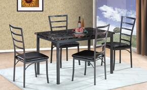 G0060TC 5 PC Dining Room Set with Dining Table + 4 Side Chairs in Gun Metal Finish