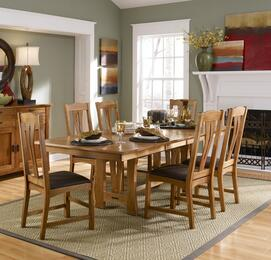 Cattail Bungalow Collection CATAMTT6SC 7-Piece Dining Room Set with Trestle Table and 6x Side Chairs in Warm Amber Finish