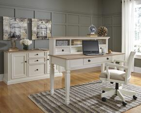 Goldbourne Collection HM-413-35-36-38-10 4 PC Home Office Large Leg Desk + Chair + Large Credenza + Desk Hutch in Two-Tone Cream and Natural Finish