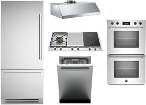 "5-Piece Stainless Steel Kitchen Package with REF36PIXL 36"" Bottom Mount Refrigerator, PM361IGX 36"" Gas Cooktop, MASFD30XT 30"" Electric Double Wall Oven, KU36PRO1XV 36"" Wall Mount Hood, and DW24XT 24"" Fully Integrated Dishwasher"