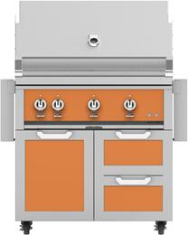 "36"" Freestanding Liquid Propane Grill with GCR36OR Tower Grill Cart with Double Drawer and Door Combo, in Citra Orange"