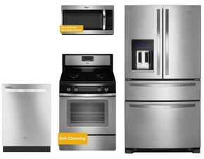 "4 Piece Kitchen package With WFG515S0ES 30"" Gas Range, WMH32519FS Over The Range Microwave Oven, WRX735SDBM 36"" French Door Refrigerator and WDT720PADM 24"" Built In Dishwasher In Stainless Steel"