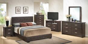 G1800QBUPSET 6 PC Bedroom Set with Queen Size Panel Bed + Dresser + Mirror + Chest + Nightstand + Media Chest in Cappuccino Color