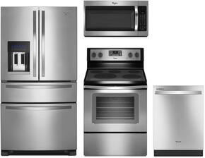 "4 Piece Kitchen package With WFE530C0ES 30"" Electric Range, WMH32519FS Over The Range Microwave, WRX735SDBM 36"" French Door Refrigerator and WDT720PADM 24"" Built In Dishwasher In Stainless Steel"