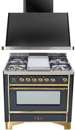 "2-Piece Matte Graphite Kitchen Package with UM906DMPM 36"" Freestanding Dual Fuel Range (Brass Trim, 6 Burners, Timer) and UAM90M 36"" Wall Mount Range Hood"