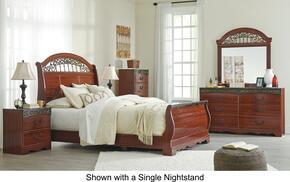 Fairbrooks Estate Queen Bedroom Set with Sleigh Bed, Dresser, Mirror, 2 Nightstands and Chest in Reddish Brown