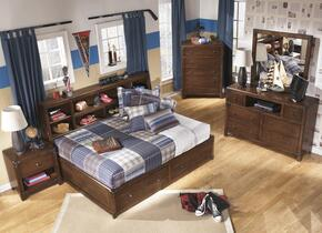 Delburne Full Bedroom Set with Storage Bed, Dresser, Mirror, Chest and Nightstand in Medium Brown