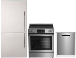 "3-Piece Kitchen Package with BRFB1812SSLN 30"" Counter Depth Bottom Freezer Refrigerator, BERU30420SS 30"" Freestanding Electric Range, and a free DWS55100SS 18"" Built In Fully Integrated Dishwasher in Stainless Steel"