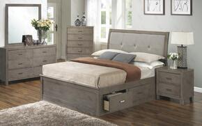 G1205BQSBDMN 4 Piece Set including Queen Storage Bed, Dresser, Mirror and Nightstand in Gray