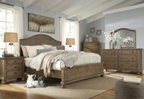 Trishley Queen Bedroom Set with Panel Bed, Dresser, Mirror and Nightstand in Light Brown