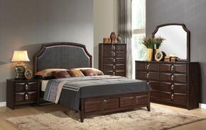 Lancaster 24570Q5PC Bedroom Set with Queen Size Bed + Dresser + Mirror + Chest + Nightstand in Espresso FInish