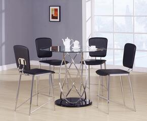 Deron 70935T4C 5 PC Bar Table Set with Counter Height Table + 4 Chairs in Chrome Finish