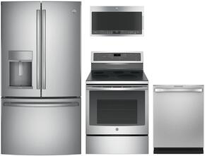 "4-Piece Kitchen Package With PFE28KSKSS 36"" French Door Refrigerator, PB911SJSS 30"" Freestanding Electric Range, PVM9005SJSS 30"" Over-the-Range Microwave and PDT825SSJSS 24"" Built In Dishwasher in Stainless Steel"