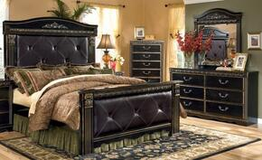 Coal Creek Queen Bedroom Set with Upholstered Mansion Bed, Dresser and Mirror in Dark Brown