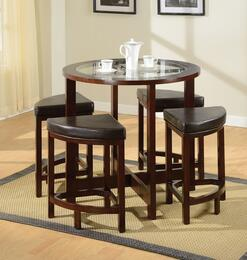 Patia 70360T4C 5 PC Bar Table Set with Counter Height Table + 4 Chairs in Espresso Finish