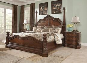 Ledelle Collection 2-Piece Bedroom Set with Queen Size Poster Bed and a Single Nightstand in Dark Cherry Finish
