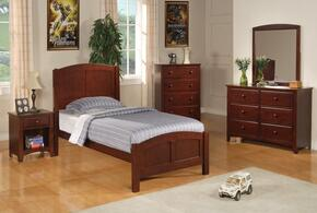 Parker 400291TDMCN 5 PC Bedroom Set with Twin Size Bed + Dresser + Mirror + Chest + Nightstand in Chestnut Finish