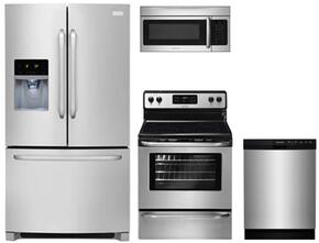 "4-Piece Kitchen with FFHB2740PS 36"" French Door Refrigerator, FFEF3048LS 30"" Electric Freestanding Range, FFBD2412SS 24""Built In Dishwasher and  FFMV164LS 30"" Over The Range Microwave Oven in Stainless Steel"