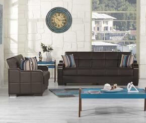 Uptown Collection UCSBLSBNL Package Containing Sofa Bed and Convertible Love Seat with Matching Pillows, Storage Under the Seat, Curved Wood-like Arms, Polished Metal Accents and Tufted Detailing Upholstered in Brown Pu-Leatherette