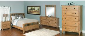 Sedona Collection2334ROQBDM2NC 6-Piece Bedroom Set with Queen Bed, Dresser, Mirror,  2 Nightstands and Chest in Rustic Oak Finish