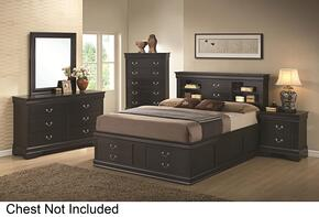 201079Q4P Louis Philippe 4 Piece Bedroom Set in Black with Queen Storage Bed, Dresser, Mirror and Single Nightstand