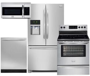 "Gallery DGHF2360PF 36"" Freestanding French Door Refrigerator 4-Piece Smudge Proof Stainless Steel Kitchen Package with DGEF3041KF 30"" Freestanding Electric Range, FGID2466QF Fully Integrated Dishwasher and FGMV175QF Over-the-Range Microwave"
