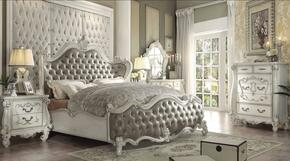 Versailles Collection 21147EKSET 6 PC Bedroom Set with Eastern King Size Bed + Dresser + Mirror + Chest + 2 Nightstands in Bone White Finish