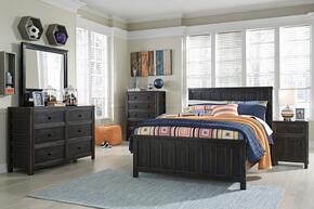 Jaysom Full Bedroom Set with Panel Bed, Dresser, Mirror, 2x Nightstand and Chest in Black