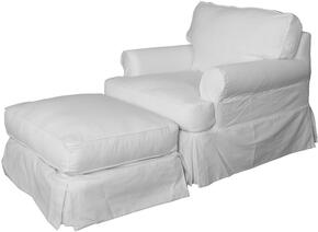 Horizon Collection SU-117620-30-423080 Slipcovered Chair and Ottoman in Warm White