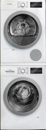 500 Series White Front Load Compact Stacked Laundry Pair with WAT28401UC 24