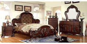 Castlewood Collection CM7299KBDMCN 5-Piece Bedroom Set with King Bed, Dresser, Mirror, Chest and Nightstand in Brown Cherry Finish