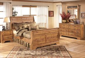 Bittersweet Queen Bedroom Set with Sleigh Bed, Dresser, Mirror and Nightstand in Light Wood