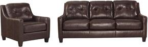 O'Kean 59105SC 2-Piece Living Room Set with Sofa and Chair in Mahogany