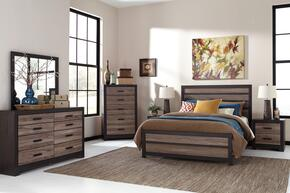 Harlinton Queen Bedroom Room Set with Panel Bed, Dresser, Mirror, Night Stand and Chest in Warm Grey and Charcoal Finish
