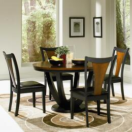 Boyer 102091SETA 5 PC Dining Room Set with Table + 4 Side Chairs in Black and Cherry Finish