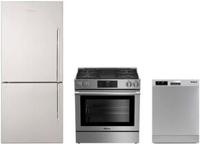 "3-Piece Kitchen Package with BRFB1812SSLN 30"" Counter Depth Bottom Freezer Refrigerator, BGR30420SS 30"" Slide-In Gas Range, and a free DW25502SS 24"" Built In Full Console Dishwasher in Stainless Steel"