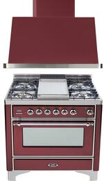 "2-Piece Burgundy Kitchen Package with UM90FDVGGRBX 36"" Freestanding Gas Range (Chrome Trim, 4 Burners, Griddle) and UAM90RB 36"" Wall Mount Range Hood"