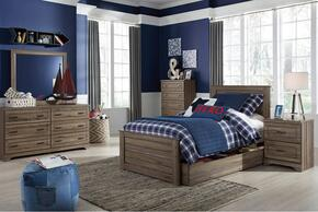Javarin Twin Bedroom Set with Storage Bed, Dresser, Mirror, 2x Nightstands and Chest in Greyish Brown