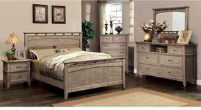 Loxley Collection CM7351CKBDMCN 5-Piece Bedroom Set with California King Bed, Dresser, Mirror, Chest and Nightstand in Weathered Oak Finish
