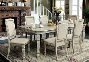 Holcroft Collection CM3600T6SC 6-Piece Dining Room Set with Rectangular Table and 6 Side Chairs in Antique White