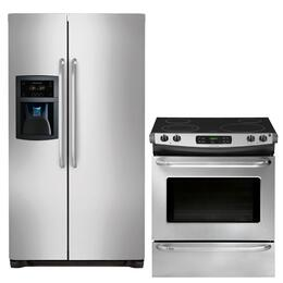 "2-Piece Stainless Steel Kitchen Package with FFSC2323LS 36"" Counter-Depth Side-by-Side Refrigerator and FFES3025PS 30"" Slide-In Electric Range"