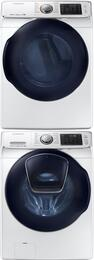 "White Front Load Laundry Pair with WF45K6500AW 27"" Washer, DV45K6500GW 27"" Gas Dryer and SKK7A Stacking Kit"