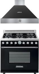 "Deco 2-Piece Black with Chrome Accent Kitchen Package with RD361GCNC 36"" Freestanding Gas Range and HD361ACNC 36"" Wall Mount Range Hood"