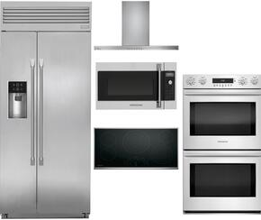 "5-Piece Stainless Steel Kitchen Package with ZISP420DKSS 42"" Side by Side Refrigerator, ZEU36RSJSS 36"" Smooth Cooktop, ZV800SJSS 36"" Under Cabinet Hood, ZET2SHSS 30"" Double Wall Oven, and ZSA1202JSS 30"" Over the Range Microwave"
