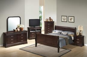 G3125AFBSET 6 PC Bedroom Set with Full Size Sleigh Bed + Dresser + Mirror + Chest + Nightstand + Media Chest in Cappuccino Finish
